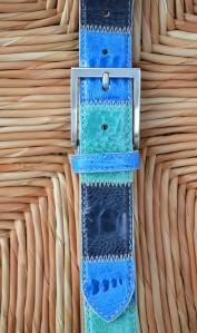 cintura azzurra pelle di struzzo Il Cascinetto