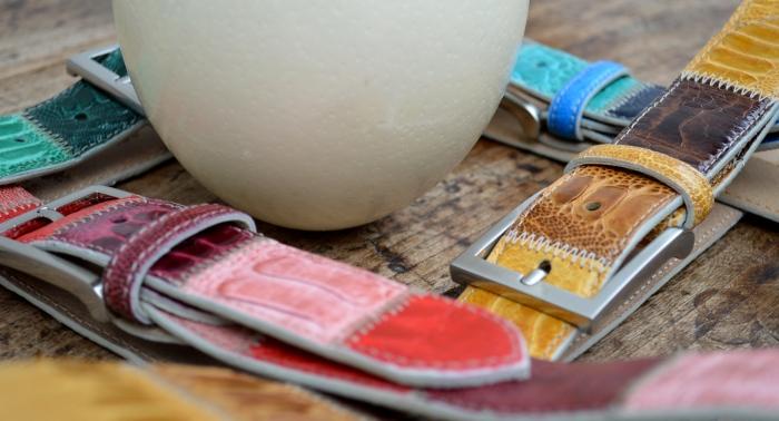 cinture pelle di struzzo e uovo Il Cascinetto