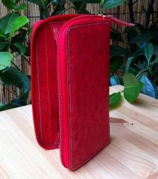 portafoglio rosso pelle di struzzo Il Cascinetto