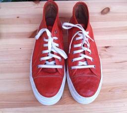 scarpe arancio pelle di struzzo Il Cascinetto