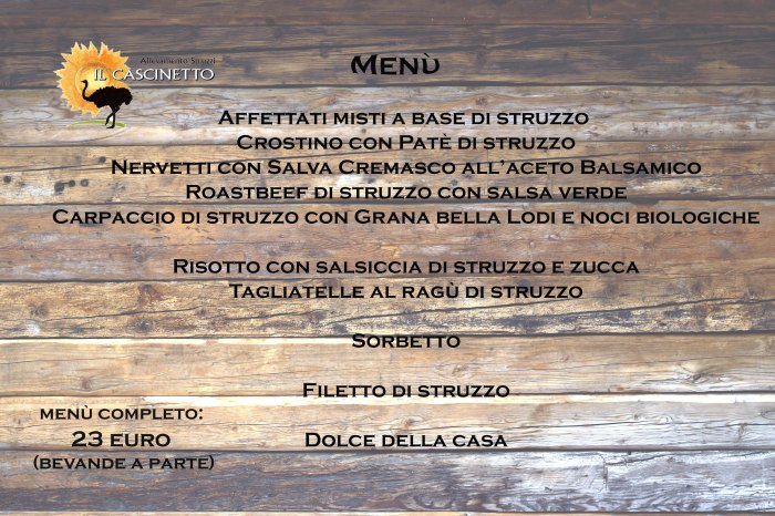 menu il cascinetto web struzzo